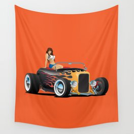 Custom Hot Rod Roadster Car with Flames and Sexy Woman Wall Tapestry