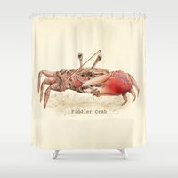 crab Shower Curtains featuring Fiddler Crab by Eric Fan