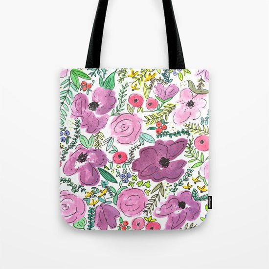 Purple Floral Design - Watercolor Painting  Tote Bag