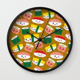 pattern Kawaii funny sushi set with pink cheeks and big eyes, emoji on brown mustard background Wall Clock