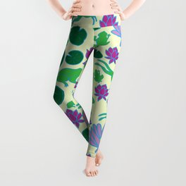 Jumping Frogs of Lily Pad Valley Leggings