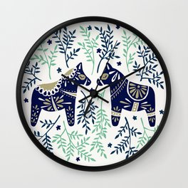 Swedish Dala Horse – Navy & Mint Palette Wall Clock