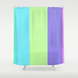 Spring - Pastel - Easter Greens Blues and Purple Stripes Shower Curtain