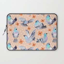 Spring Pigeons on Peach with Flowers and Spots Laptop Sleeve