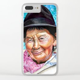 Lady in Pink Scarf Clear iPhone Case