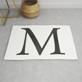 Letter M Initial Monogram Black and White Rug