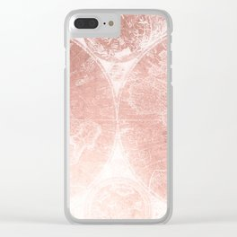 Antique World Map White Rose Gold Clear iPhone Case