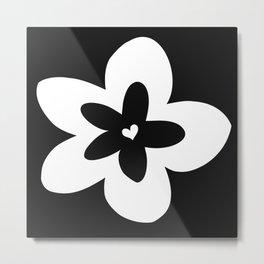 Black and White Plumeria Metal Print