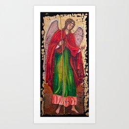 Archangel Gabriel Fresco With A Crackled Finish for #Society6 Art Print