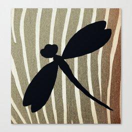 Vintage Zebra Stripe Dragonfly Silhouette Canvas Print