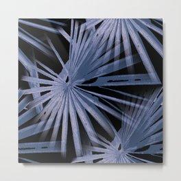 Blue on Black Tropical Vibes Beach Palmtree Vector Metal Print