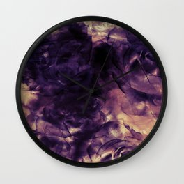 Vintage Deep Purple Bouquet of Roses & Cloulds Wall Clock