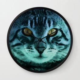 Green Cat Watercolor Wall Clock