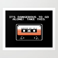 TAKE THIS TAPE (Zelda & Guardians of the galaxy Parody) Art Print