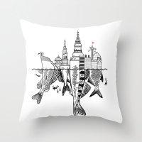 copenhagen Throw Pillows featuring Copenhagen by CAB Architects