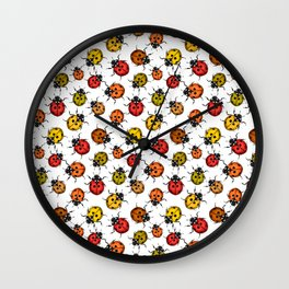 Colorful ladybugs on white Wall Clock