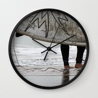 surfboard Wall Clocks featuring Surfboard 2 by Becky Dix
