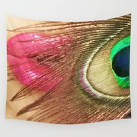 lip Wall Tapestries featuring Lip of the Peacock by Bougiee Inc.