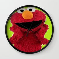 duvet cover Wall Clocks featuring ELMO DUVET COVER by aztosaha