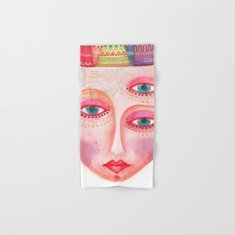 girl with the most beautiful eyes mask portrait Hand & Bath Towel