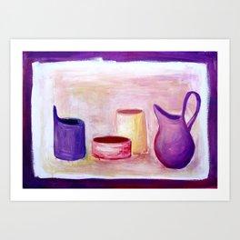 Pots in violet Art Print