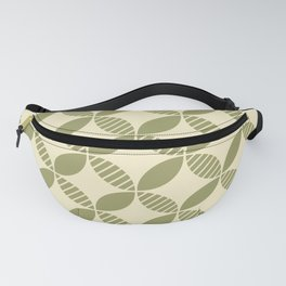 Mid Century Modern Geometric Flower Pattern Olive and Cream Fanny Pack
