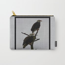 bald eagle pair in the rain (square) Carry-All Pouch