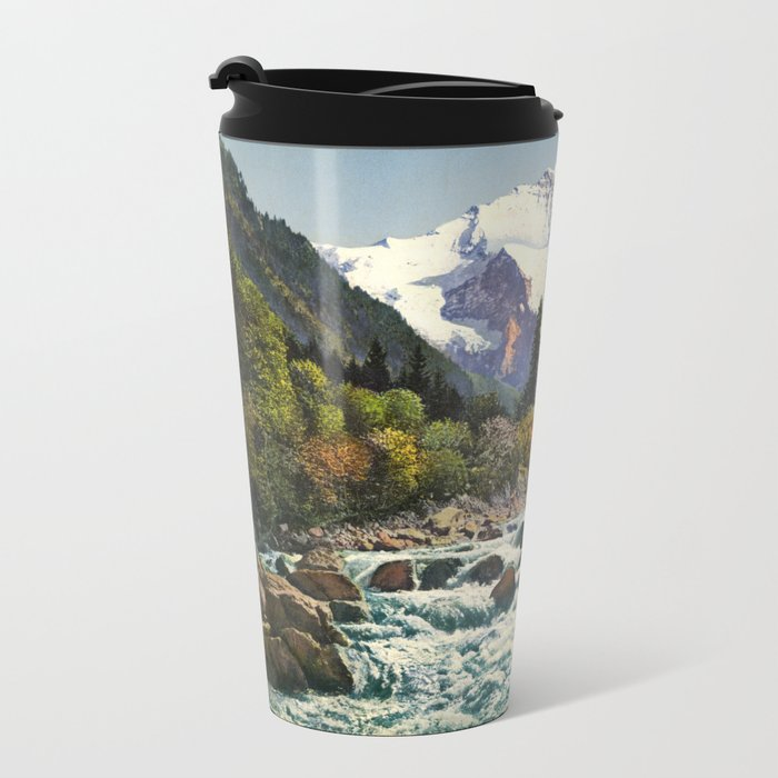Mountains Forest Rocky River Metal Travel Mug