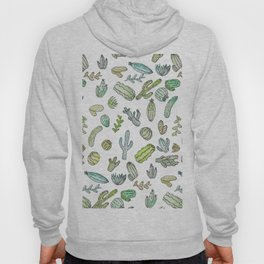 Cute Green Watercolor Paint Summer Cactus Pattern Hoody