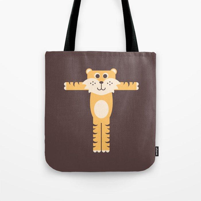 Letter T // Animal Alphabet // Tiger Monogram Tote Bag