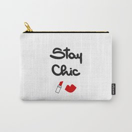 cute hand drawn lettering stay chic quote with red lips and lipstick Carry-All Pouch