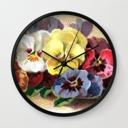 Vintage Pansies Wall Clock