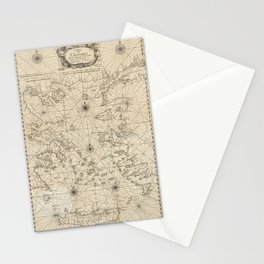 Vintage Map Print - 1746 map of the Aegean Sea and its Islands Stationery Cards