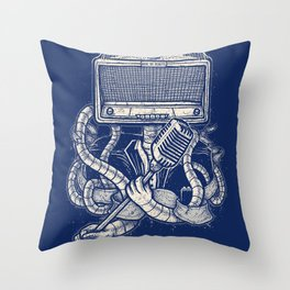 Rocker robot Navy Throw Pillow