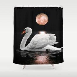 Moonlight Swan Shower Curtain