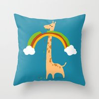 Throw Pillows featuring Taste of Happiness Rainbow by Picomodi