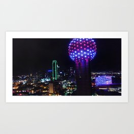 Dallas at Night From Above - Drone Aerial Photography Art Print