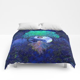Tree of Life Yin Yang Earth Space Comforters