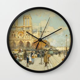 Figures on a Sunny Parisian Street, Notre Dame by Eugene Galien Laloue Wall Clock