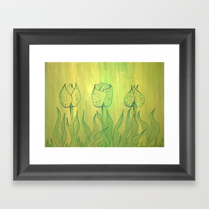 Green field with green flowers. Framed Art Print