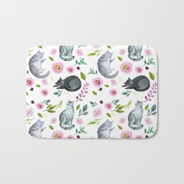 Watercolor Cats and Flowers Pattern Bath Mat
