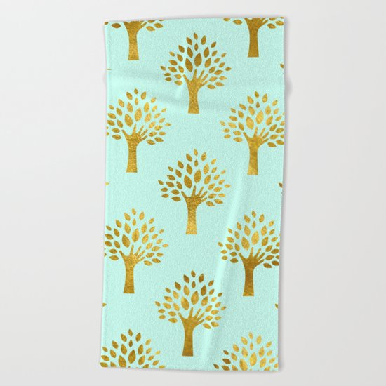 Mint Gold Foil 02 Beach Towel