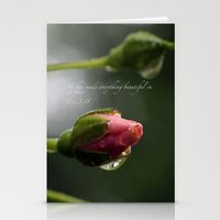 scripture Stationery Cards featuring Pink Rosebud with scripture. by The Time Catcher