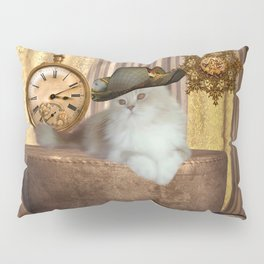 Steampunk, beautiful cat with steampunk hat Pillow Sham