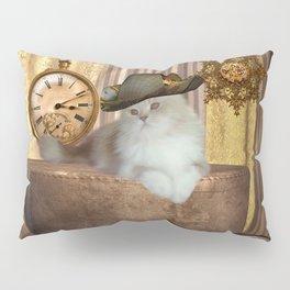 Steampunk, beautiful cat with steampunk hat Pillow Sham