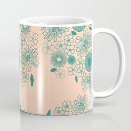 Chicory and Daisies British Wildflowers Vintage Florals Blush Pink And Happy Teal Boho Flowers Coffee Mug