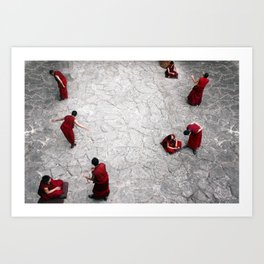 Monks in Lhasa, Tibet Art Print