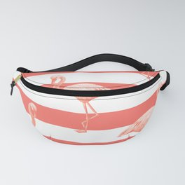 Living Coral Flamingo Stripes II Fanny Pack