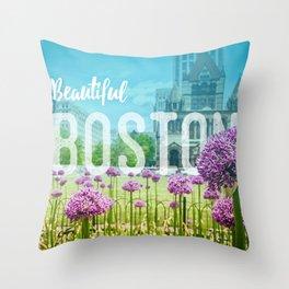 Boston Cityscape - Copley Square Throw Pillow