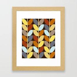 Retro 70s Color Palette Leaf Pattern Framed Art Print